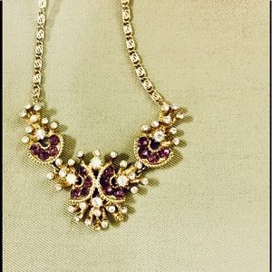 "Necklace rhinestone and purple stones 18"""